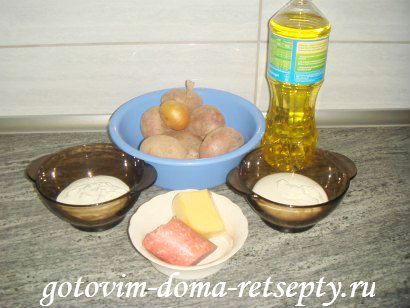 картофельная запеканка с сыром и колбасой 1