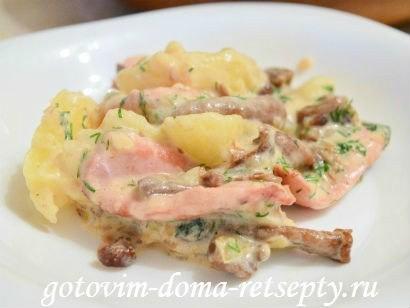 теплый салат с грибами картофелем