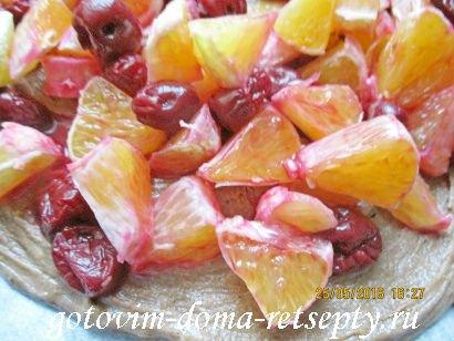 торт брауни с фруктами и ягодами 16