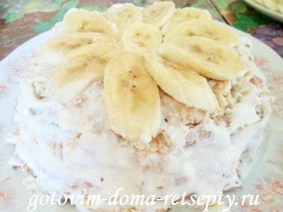 торт из печенья с бананами и киви без выпечки