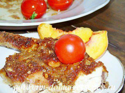 курица в духовке целиком с медом и орехами