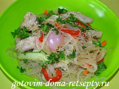 фунчоза с овощами и мясом, рецепт с фото 13