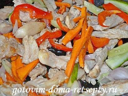 фунчоза с овощами и мясом, рецепт с фото 7