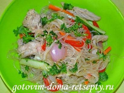 фунчоза с овощами и мясом, рецепт с фото
