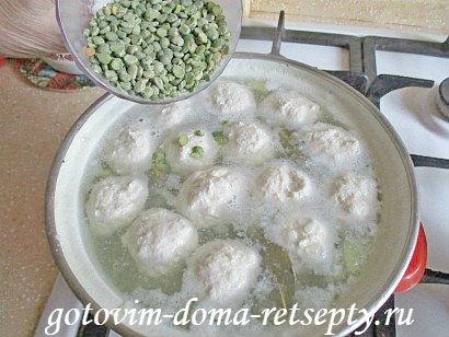 гороховый суп с куриными фрикадельками 7