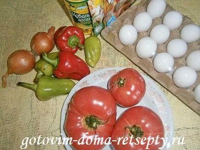 яичница с помидорами и луком 1