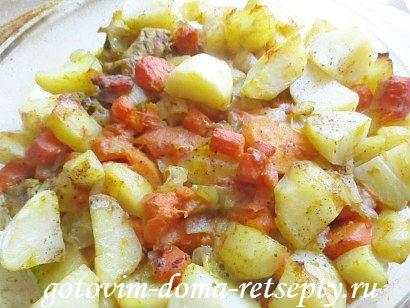 индейка с картошкой и тыквой, в духовке
