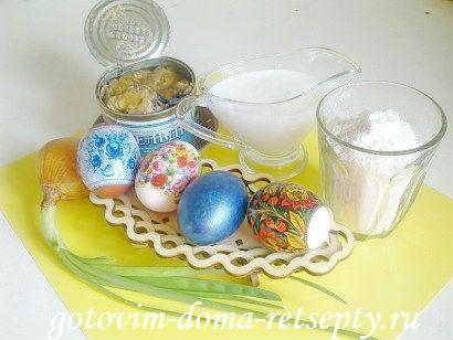 пирог из рыбных консервов с яйцами 1