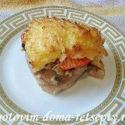 курица с грибами сыром и помидорами 15
