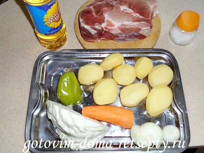 овощное рагу с мясом, картошкой и капустой 1