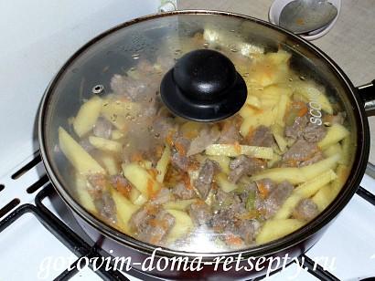 овощное рагу с мясом, картошкой и капустой 11