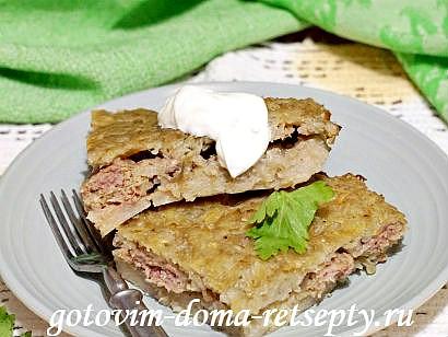 картофельная бабка с мясным фаршем